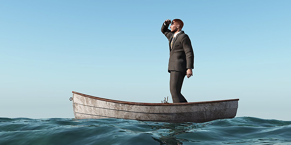 Man in boat feeling lost: leasing in a downturn